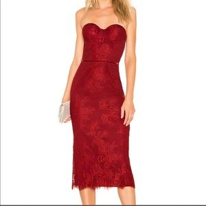 NWT Lovers + Friends Tinley Red Lace Midi Dress